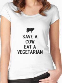 SAVE A COW EAT A VEGETARIAN Women's Fitted Scoop T-Shirt