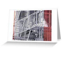 Fire Escape Chatting Greeting Card
