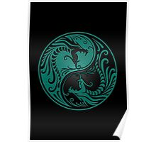 Yin Yang Dragons Teal Blue and Black Poster