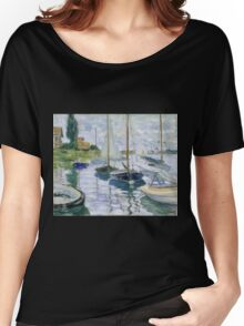 Claude Monet - Boats At Rest At Petit Gennevilliers Women's Relaxed Fit T-Shirt