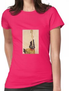 Egon Schiele - Kneeling Semi Nude 1911 Womens Fitted T-Shirt