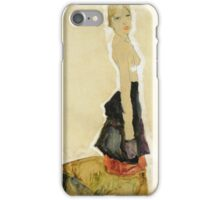 Egon Schiele - Kneeling Semi Nude 1911 iPhone Case/Skin