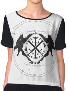 Strength of the Wolf [Black/White] Chiffon Top