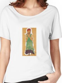 Egon Schiele - Girl With Green Pinafore 1910 Women's Relaxed Fit T-Shirt