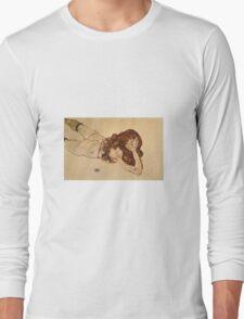 Egon Schiele - Female Nude Lying On Her Stomach 1917 Long Sleeve T-Shirt