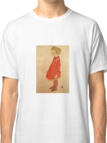Egon Schiele - Little Girl With Blond Hair In A Red Dress 1916 Classic T-Shirt
