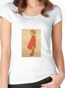 Egon Schiele - Little Girl With Blond Hair In A Red Dress 1916 Women's Fitted Scoop T-Shirt