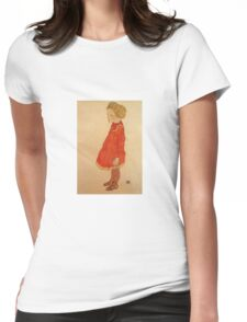 Egon Schiele - Little Girl With Blond Hair In A Red Dress 1916 Womens Fitted T-Shirt