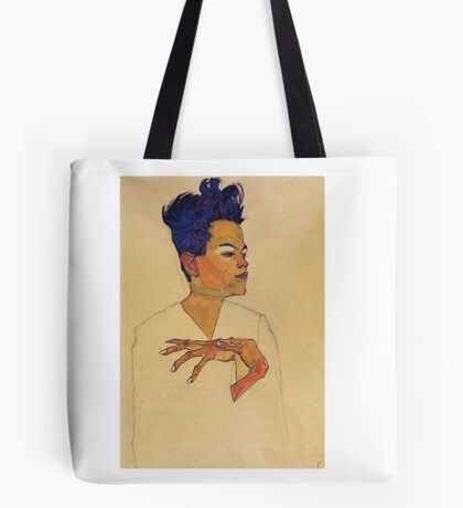 Egon Schiele - Self Portrait With Hands On Chest 1910 Tote Bag