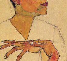 Egon Schiele - Self Portrait With Hands On Chest 1910 Sticker