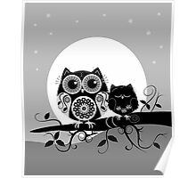 Flower power Owl with sleepy Baby & full Moon Poster