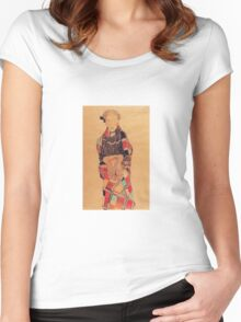 Egon Schiele - Girl In Black Pinafore Wrapped In Plaid Blanket 1910 Women's Fitted Scoop T-Shirt