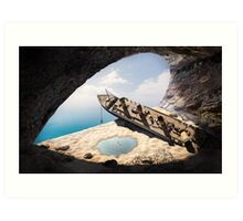 wrecked ship in the cave Art Print