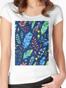 Watercolor Floral Pattern Women's Fitted Scoop T-Shirt