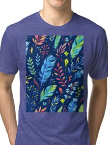 Colorful Watercolor Flowers Tri-blend T-Shirt
