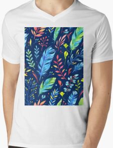 Colorful Watercolor Flowers Mens V-Neck T-Shirt