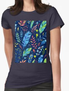 Colorful Watercolor Flowers Womens Fitted T-Shirt