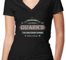 Quarks Bar retro design Women's Fitted V-Neck T-Shirt