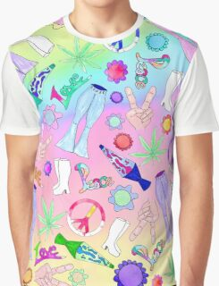 Psychedelic 70s Groovy Collage Pattern Graphic T-Shirt