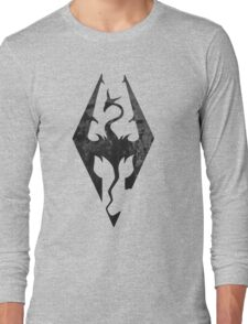 Skyrim inspired minimal print - dragon born, large Long Sleeve T-Shirt