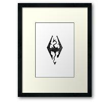 Skyrim inspired minimal print - dragon born, large Framed Print