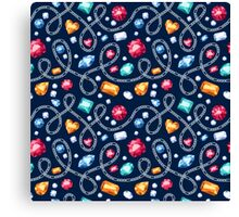 Silver chains and colorful gemstones pattern on black background.  Canvas Print