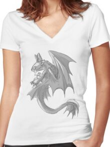 Sketchy Toothless Women's Fitted V-Neck T-Shirt