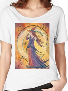 Whimsical Halloween witch by Renee L Lavoie Women's Relaxed Fit T-Shirt