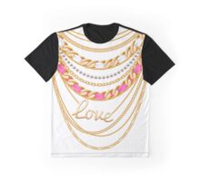 Many chains golden metallic and pearls necklace. Graphic T-Shirt