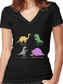 Funny Dinosaurs Women's Fitted V-Neck T-Shirt
