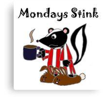 Funny Skunk Hates Mondays Cartoon Canvas Print
