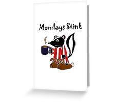 Funny Skunk Hates Mondays Cartoon Greeting Card