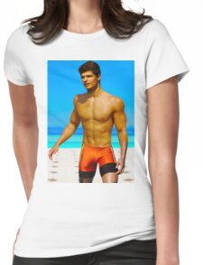 Sexy swimmer at the pool Womens Fitted T-Shirt