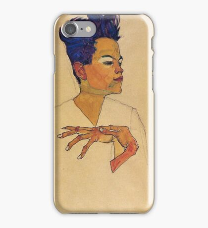 Egon Schiele - Self Portrait With Hands On Chest 1910 iPhone Case/Skin