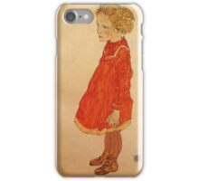 Egon Schiele - Little Girl With Blond Hair In A Red Dress 1916 iPhone Case/Skin