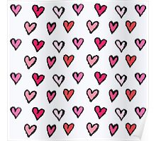Cute Girly Pink Hand Drawn Hearts on White Pattern Poster