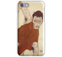 Egon Schiele - Self Portrait In A Jerkin With Right Elbow Raised 1914 iPhone Case/Skin