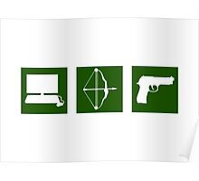 Team Arrow - Symbols in Green Box - Weapons Poster