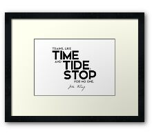 trains, like time and tide, stop for no one - jules verne Framed Print