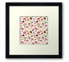Colorful sweet cakes slices pattern. Framed Print