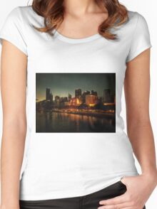 Waterside view of Melbourne at night Women's Fitted Scoop T-Shirt