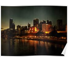 Waterside view of Melbourne at night Poster