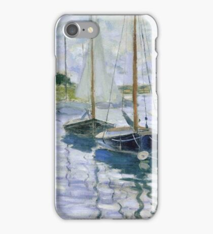 Claude Monet - Boats At Rest At Petit Gennevilliers iPhone Case/Skin