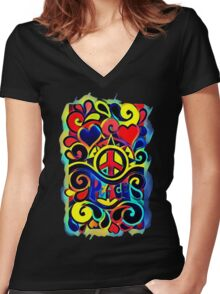 Peace and Love Bold Retro Art Women's Fitted V-Neck T-Shirt