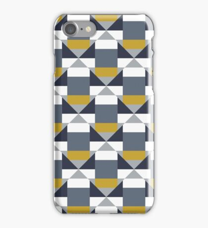 Geometric pattern with grey blocks iPhone Case/Skin