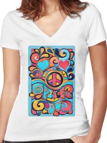 Peace and Love Colorful Retro Art Women's Fitted V-Neck T-Shirt