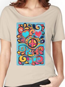 Peace and Love Colorful Retro Art Women's Relaxed Fit T-Shirt