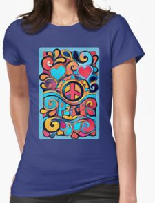 Peace and Love Colorful Retro Art Womens Fitted T-Shirt