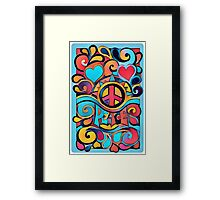 Peace and Love Colorful Retro Art Framed Print