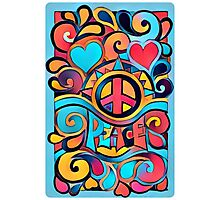 Peace and Love Colorful Retro Art Photographic Print